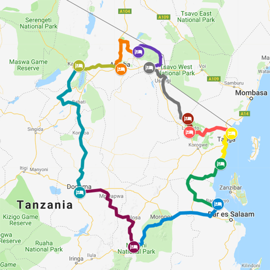 Tanzania 15 Day Standard Tour Map