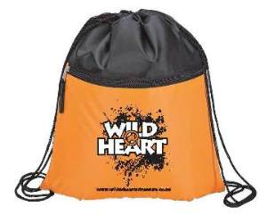 Wild@Heart Black/Orange Drawstring Bag